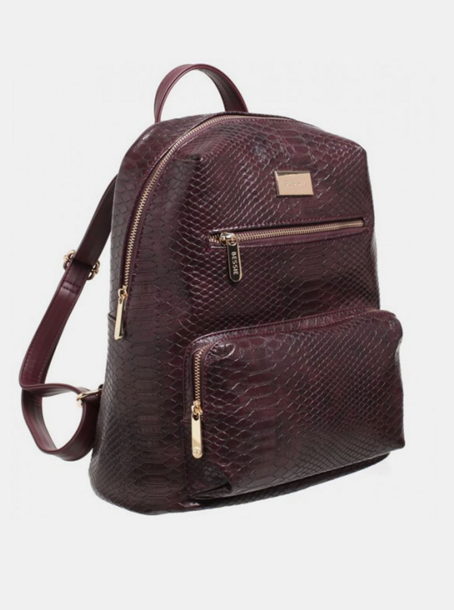 Rucsac burgund cu model crocodil Bessie London