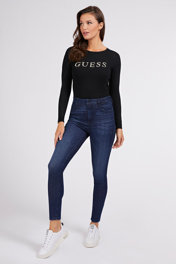 Guess negre pulover Rhinestones Front Logo Sweater