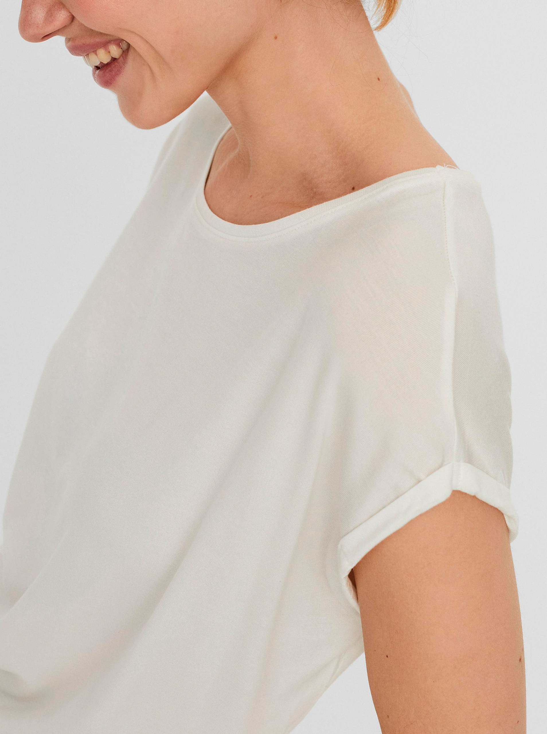 Tricou basic crem AWARE by VERO MODA Ava