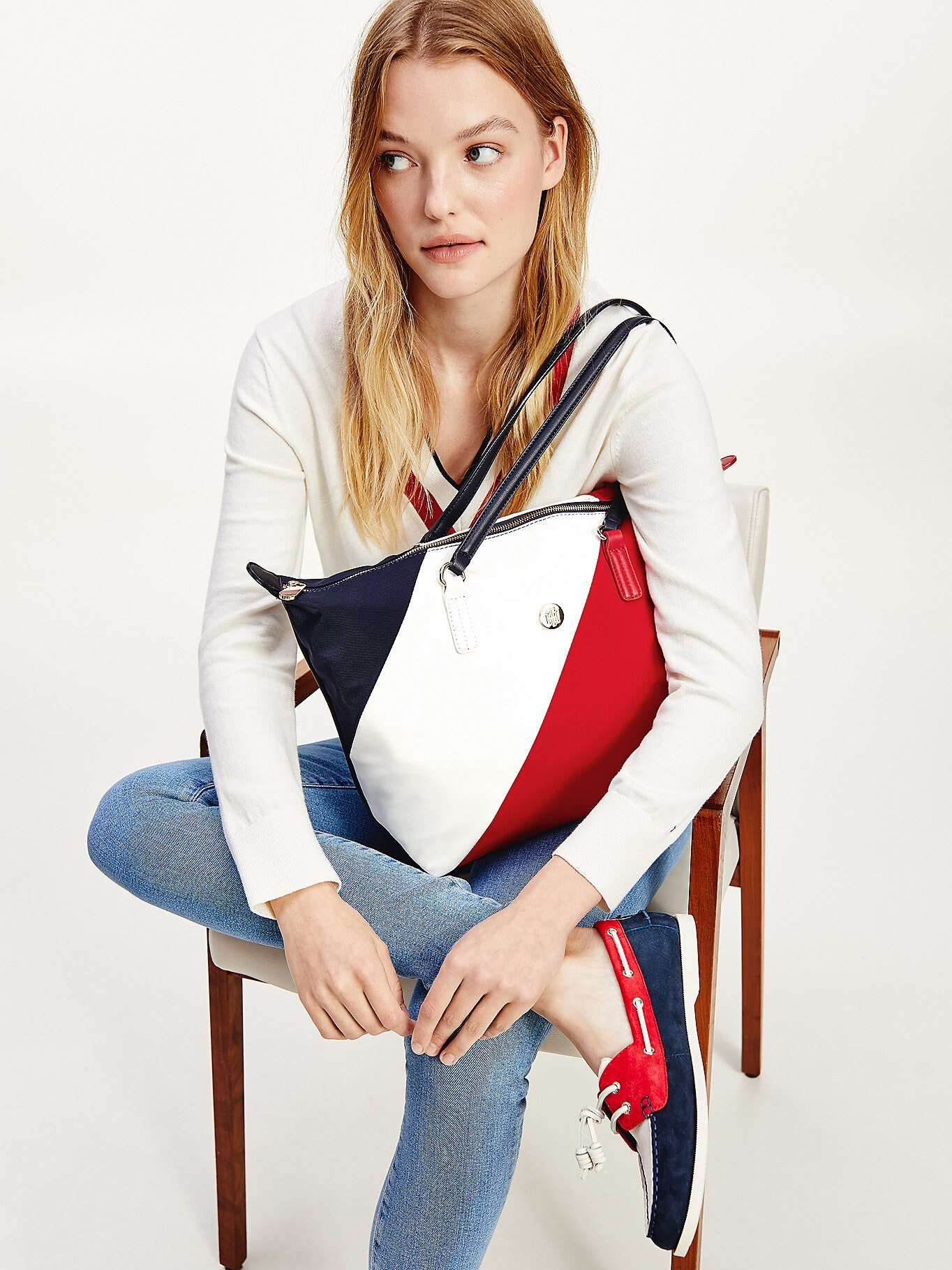 Tommy Hilfiger colorate geanta Poppy Tote Soft Nylon Stripes Corporate Mix