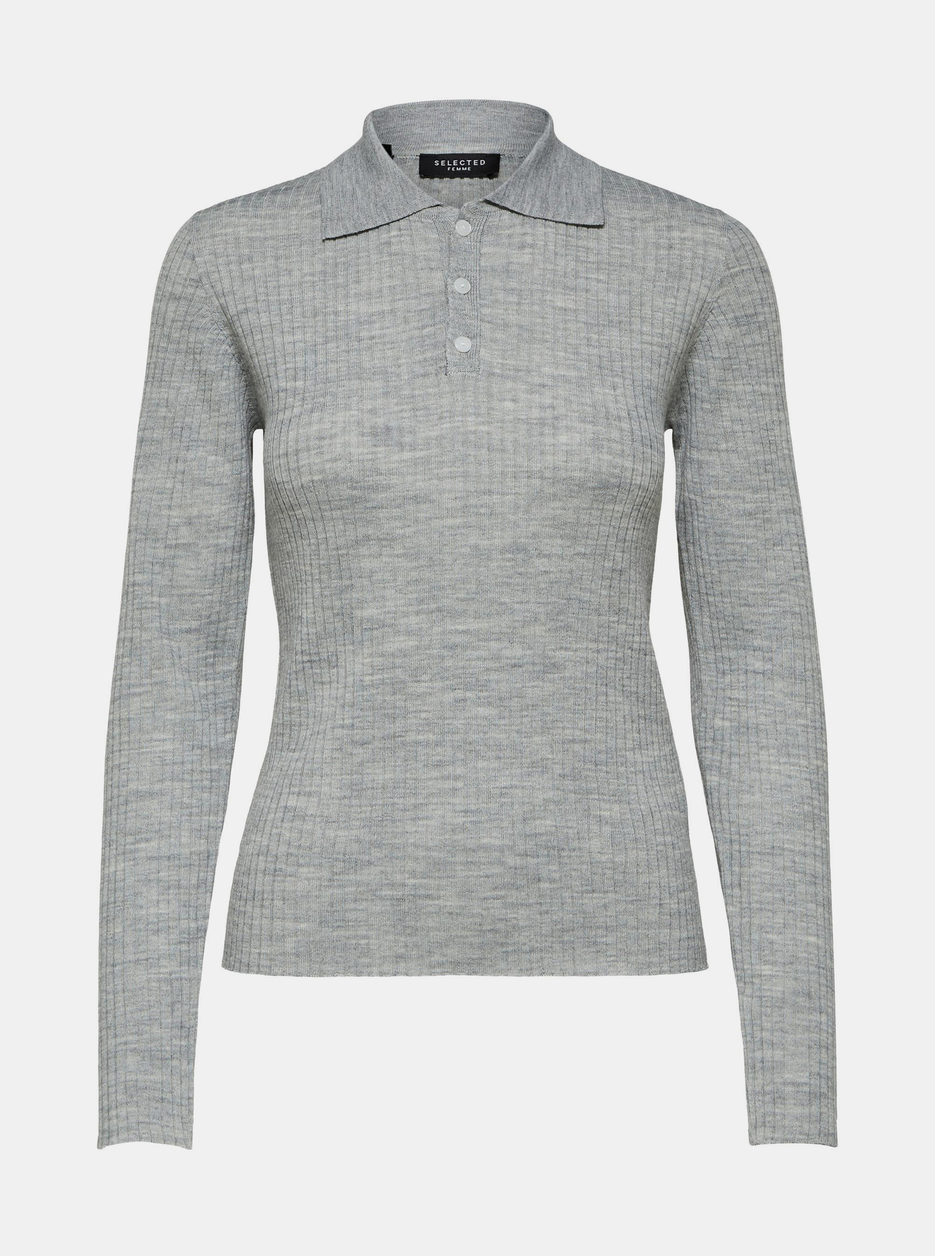 Polo de lână gri deschis Selected Femme Costa