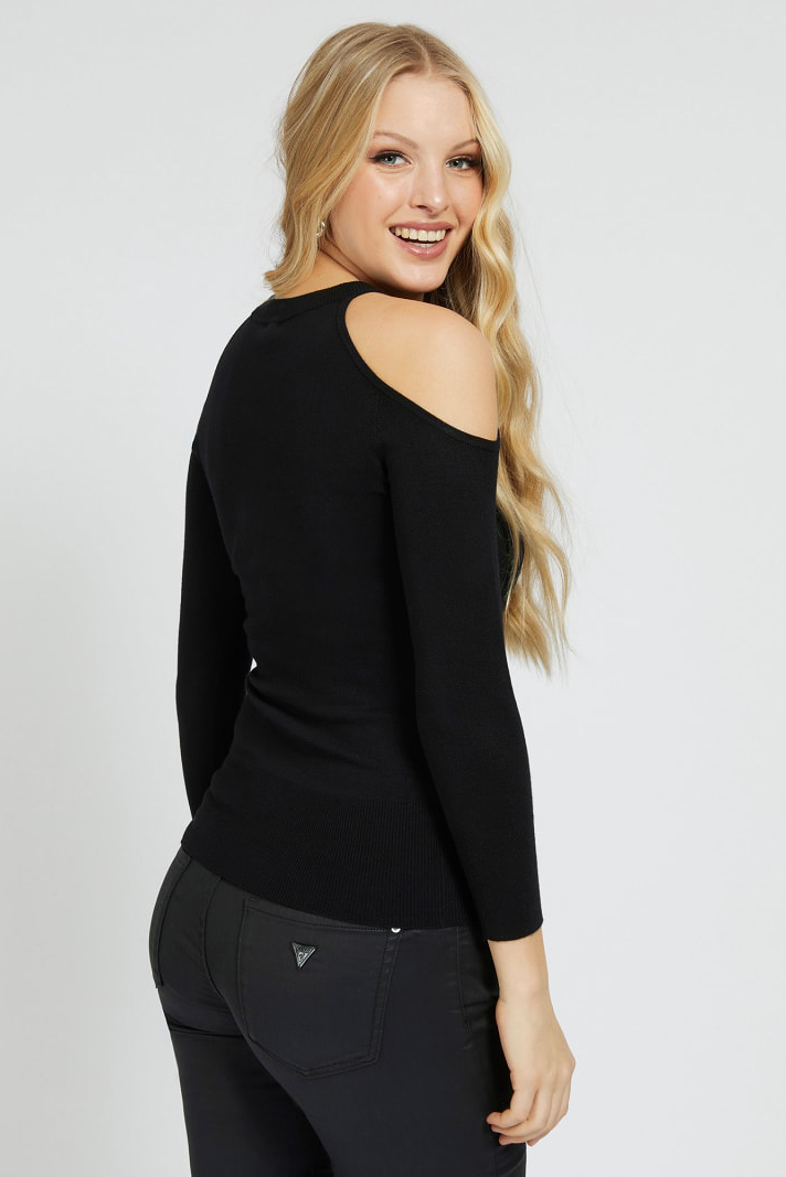 Guess negre pulover Cut-Out Sleeves Triangle Logo