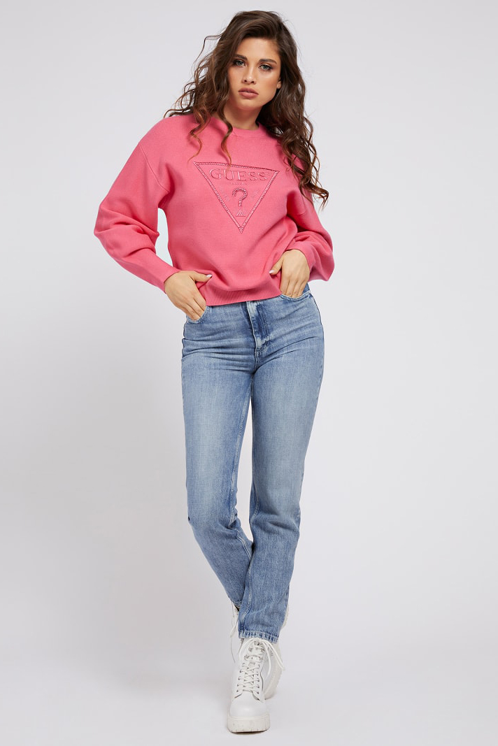 Guess roz pulover Front Logo Comfort Fit